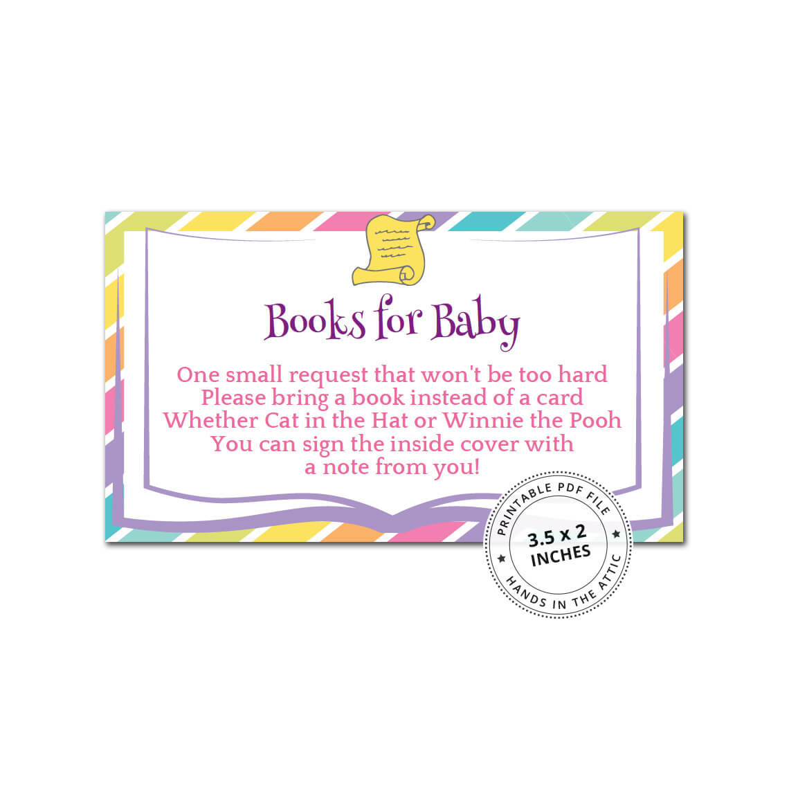 photograph relating to Bring a Book Baby Shower Insert Free Printable identify Rainbow Textbooks for Little one Card