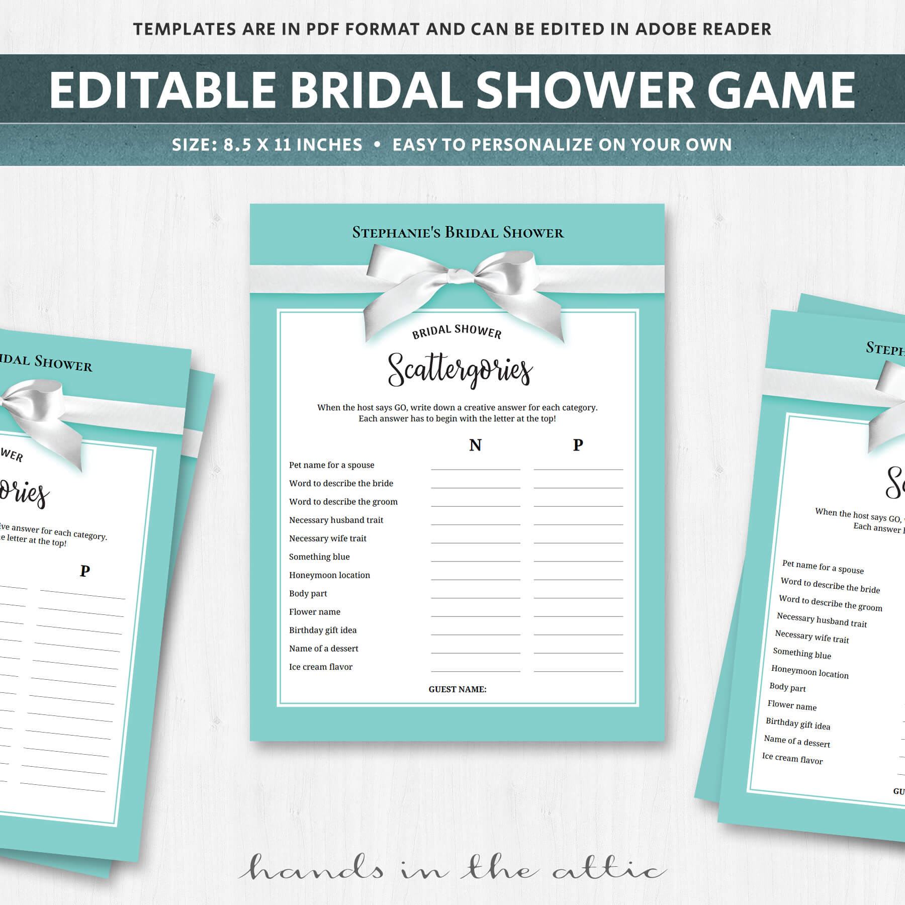 graphic regarding Printable Scattergories identify Bridal Scattergories - Printable Sport - Turquoise - Aqua