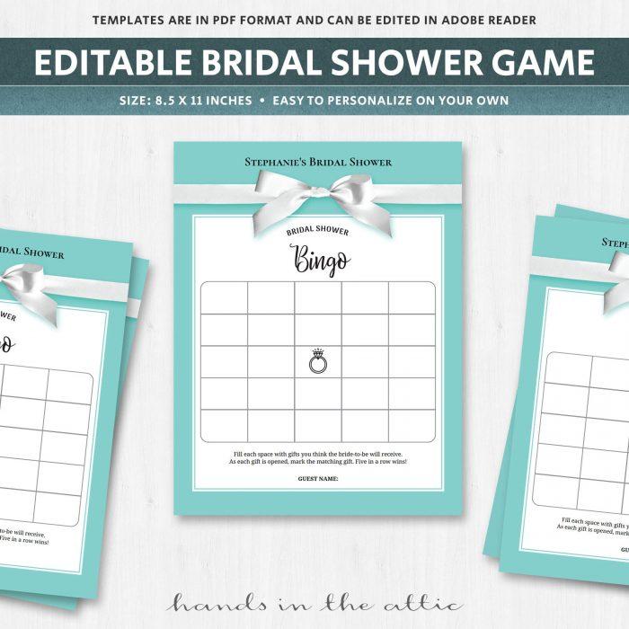 Bridal shower bingo cards