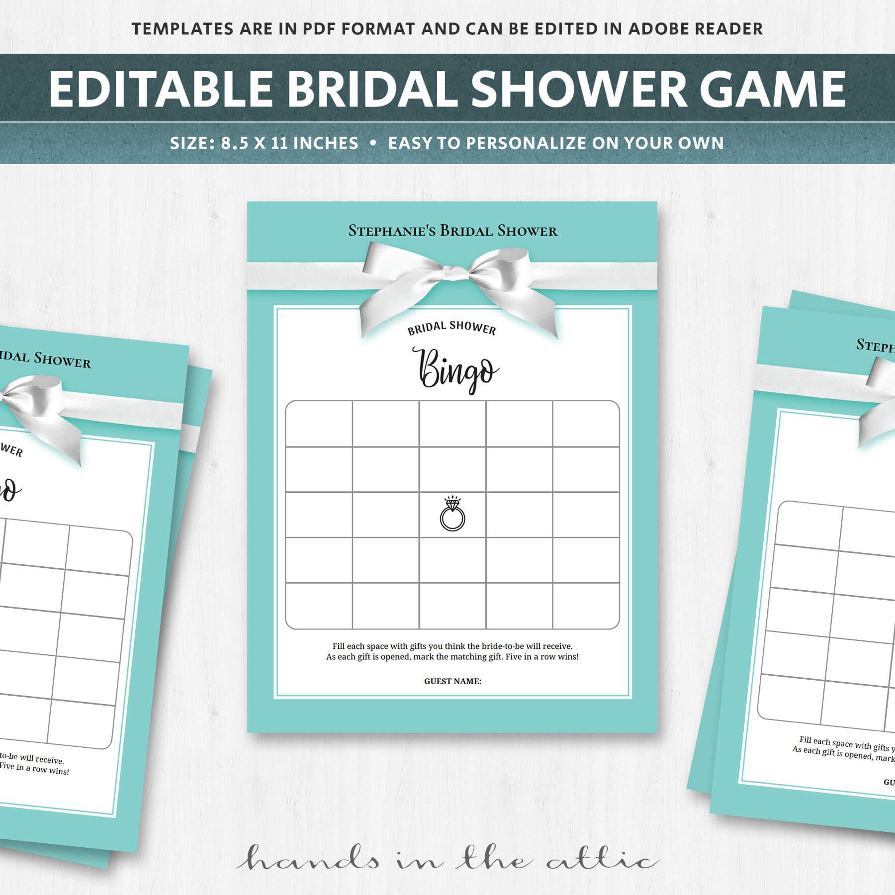 Bridal Shower Bingo Cards - Turquoise - Aqua | Printable Stationery ...