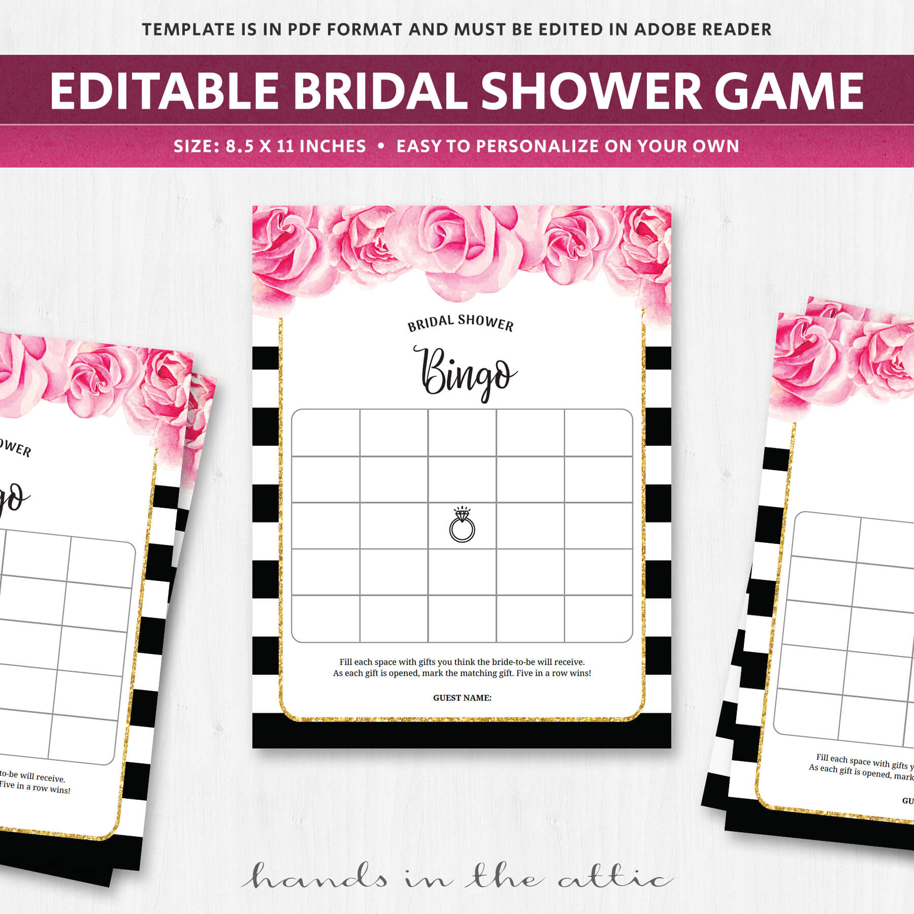 Bridal Shower Bingo Template - Black and White | Printable ...