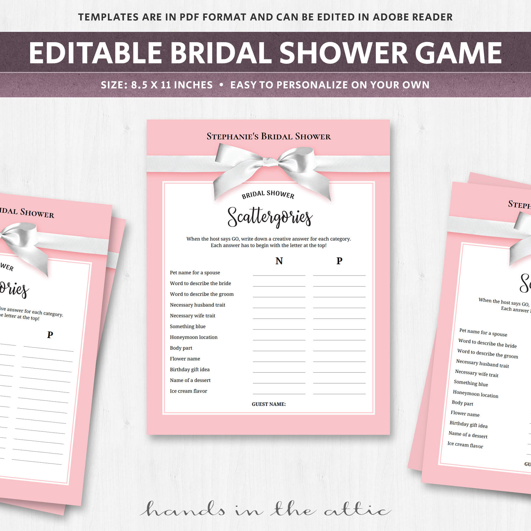 image regarding Printable Scattergories referred to as Bridal Shower Scattergories Printable - Crimson