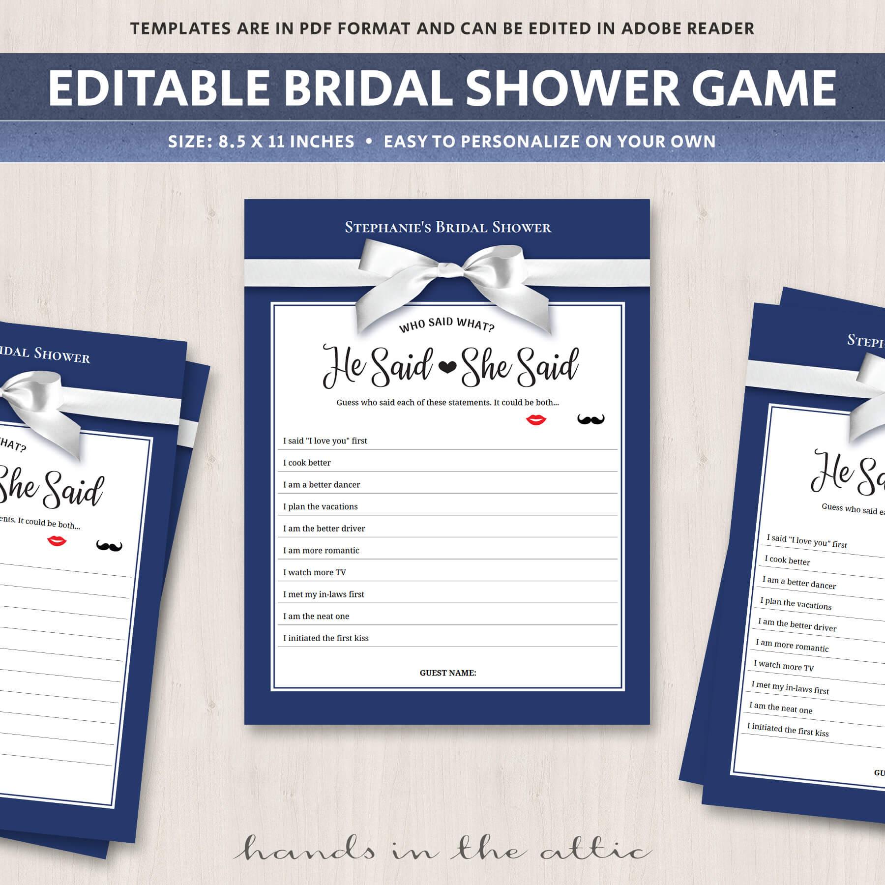 co ed bridal shower games