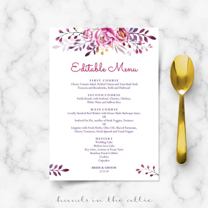 Dark Pink Wedding Menu Template