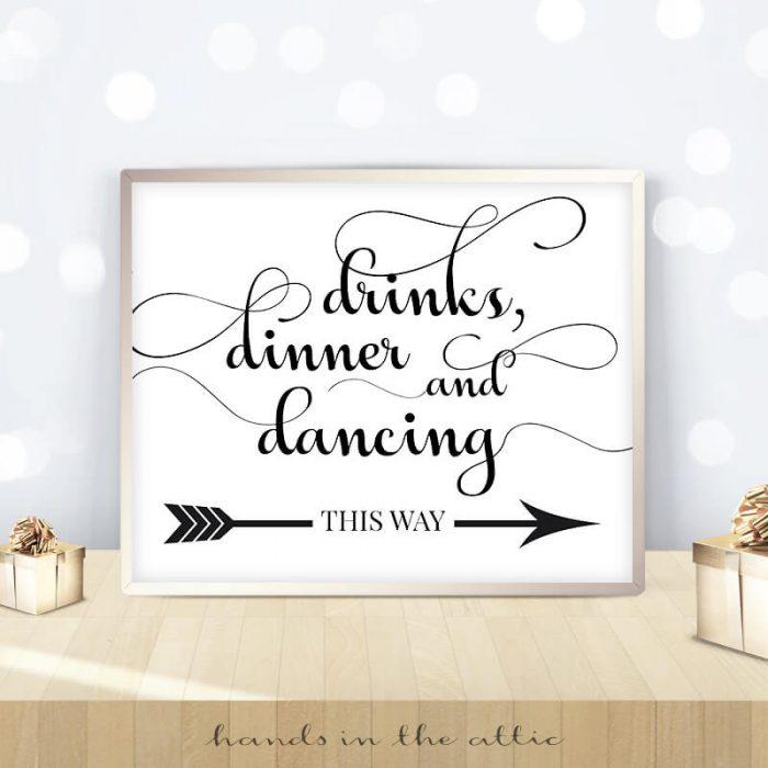 Drinks Dinner Dancing Sign