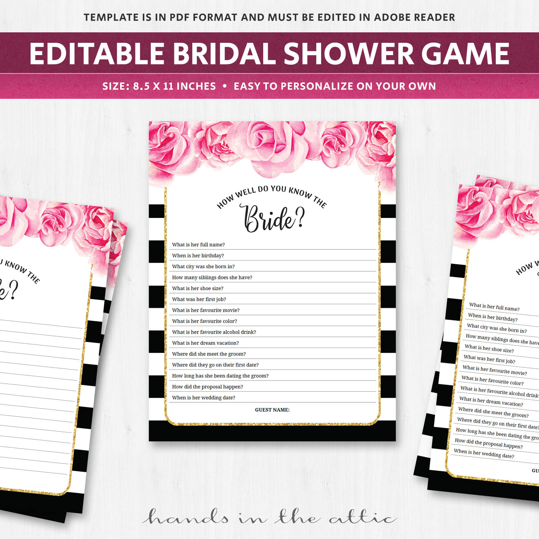 Fun Bridal Shower Games Know The Bride Black And White