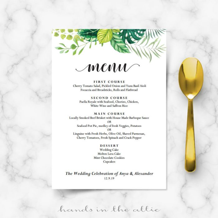 Garden Wedding Menu Cards