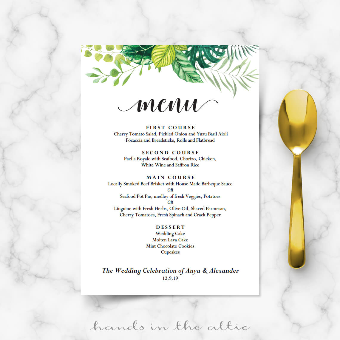 garden wedding menu