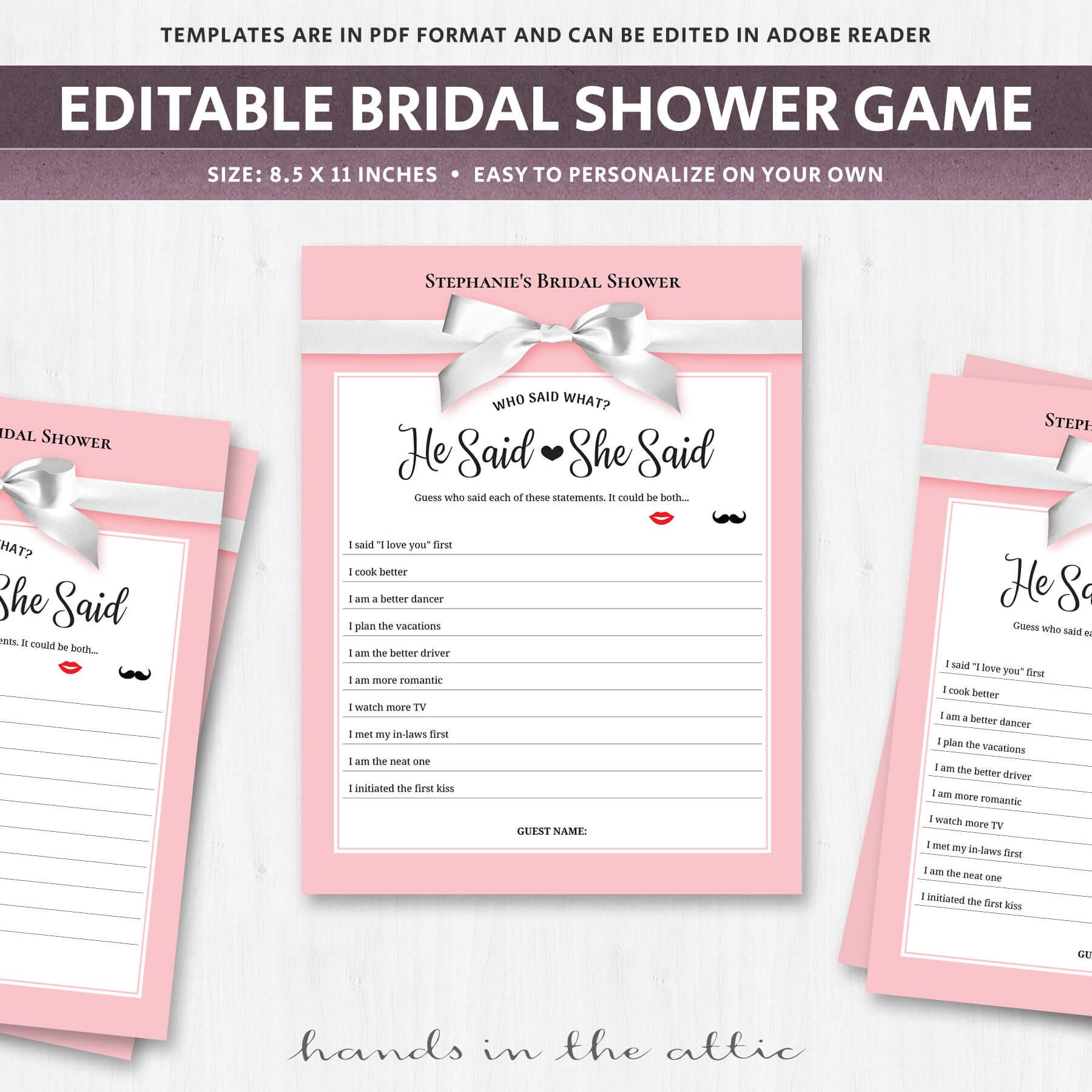 he said she said bridal shower game template - he said she said pink printable game printable