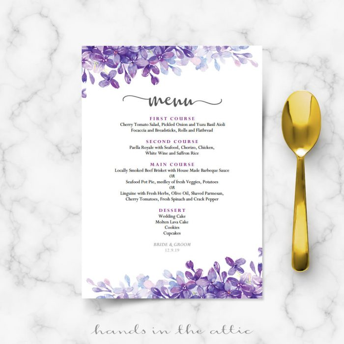 Lilac Wedding Menu Template