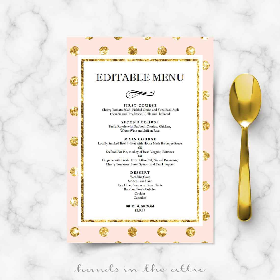 pink and gold menu wedding templates hands in the attic