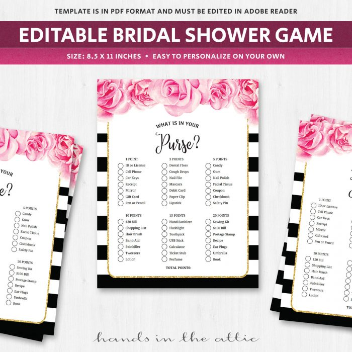 photo regarding Bridal Shower Purse Game Printable identify Purse Sport - Bridal Shower Printable - Black and White