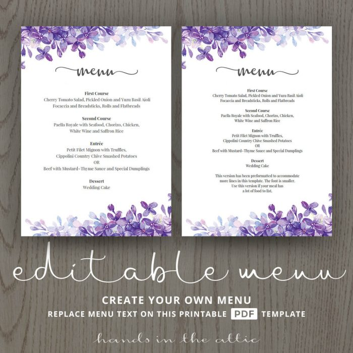Rehearsal Dinner Menu