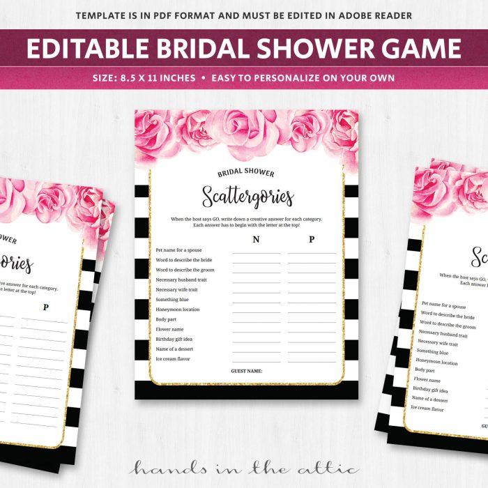 Scattergories Bridal Shower Game