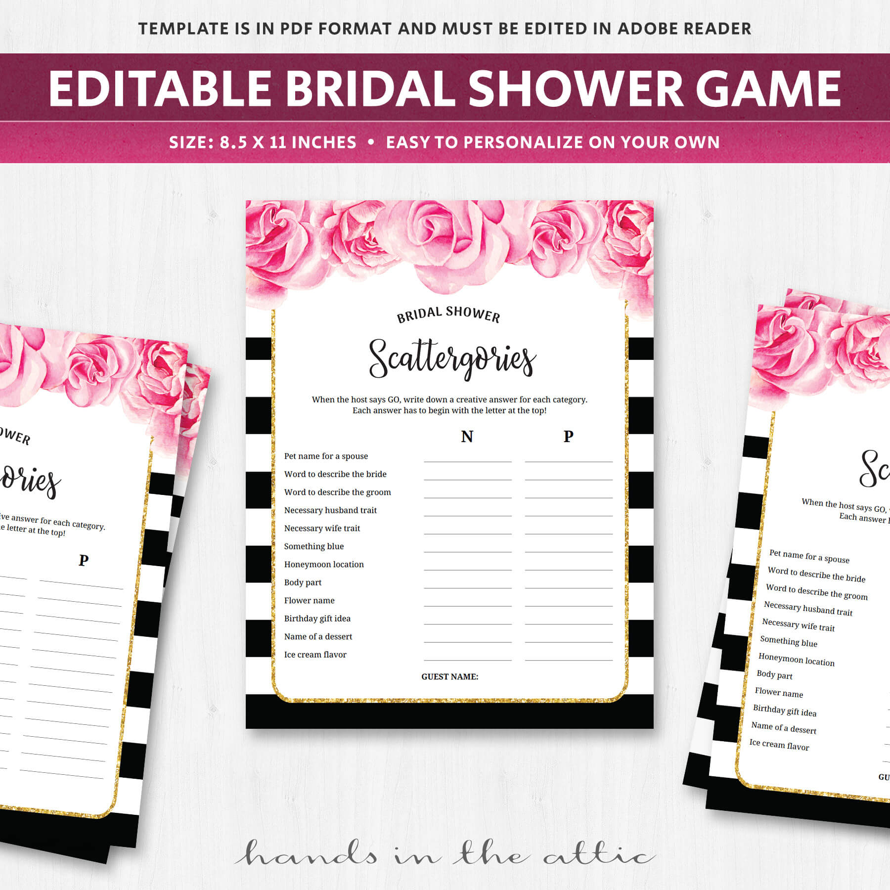 Scattergories - Bridal Shower Game - Black and White | Printable ...