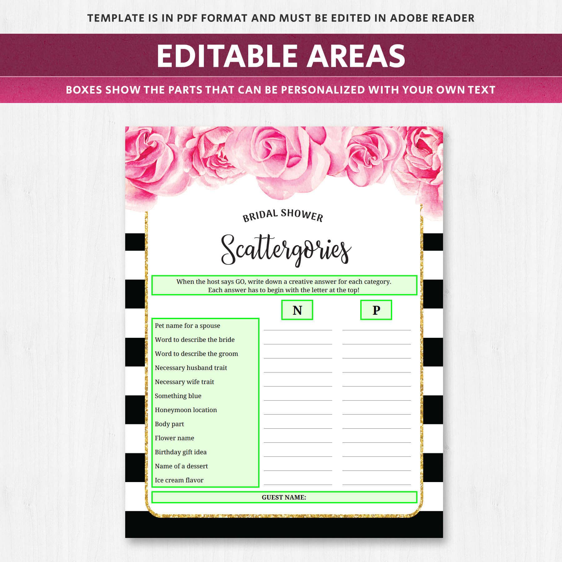 scattergories - bridal shower game