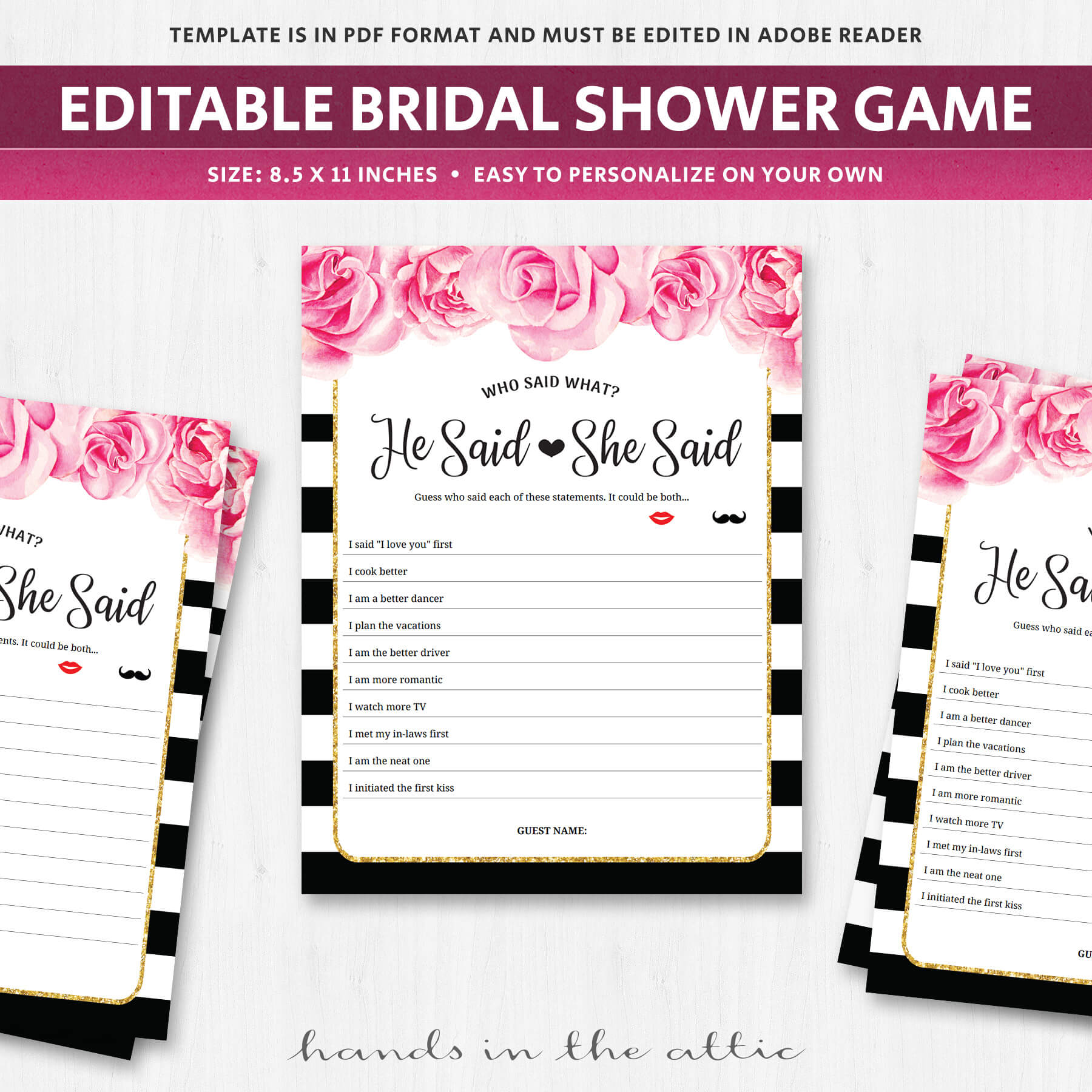 instant download of printable bridal shower games