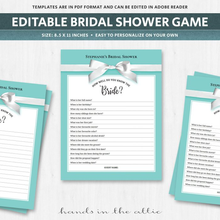 Unique bridal shower games quiz