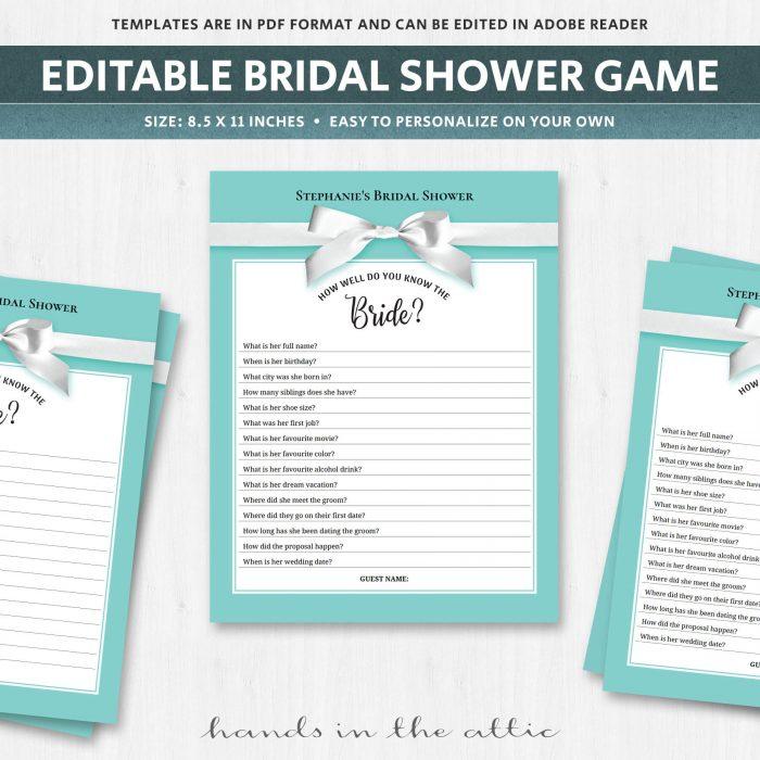Unique bridal shower games quiz