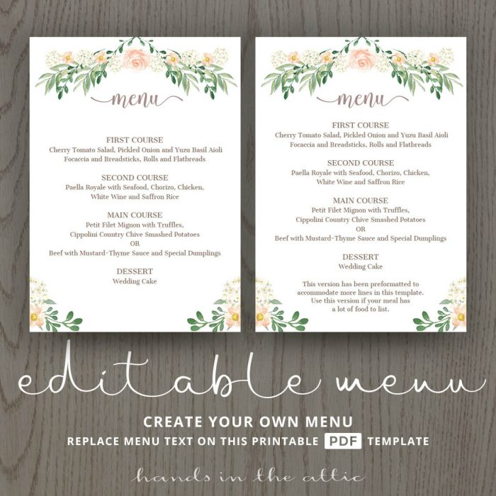 Wedding Dinner Menu
