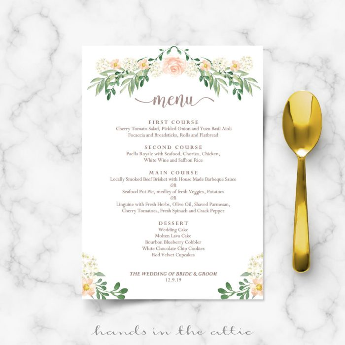 Fall wedding menu template editable menu cards hands for Wedding menu cards templates for free