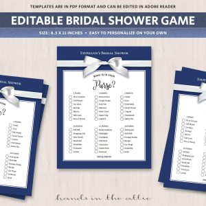 Whats in your purse bridal shower game