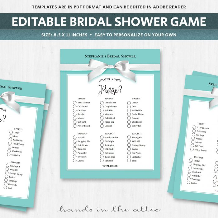 What is in your purse bridal shower game pdf