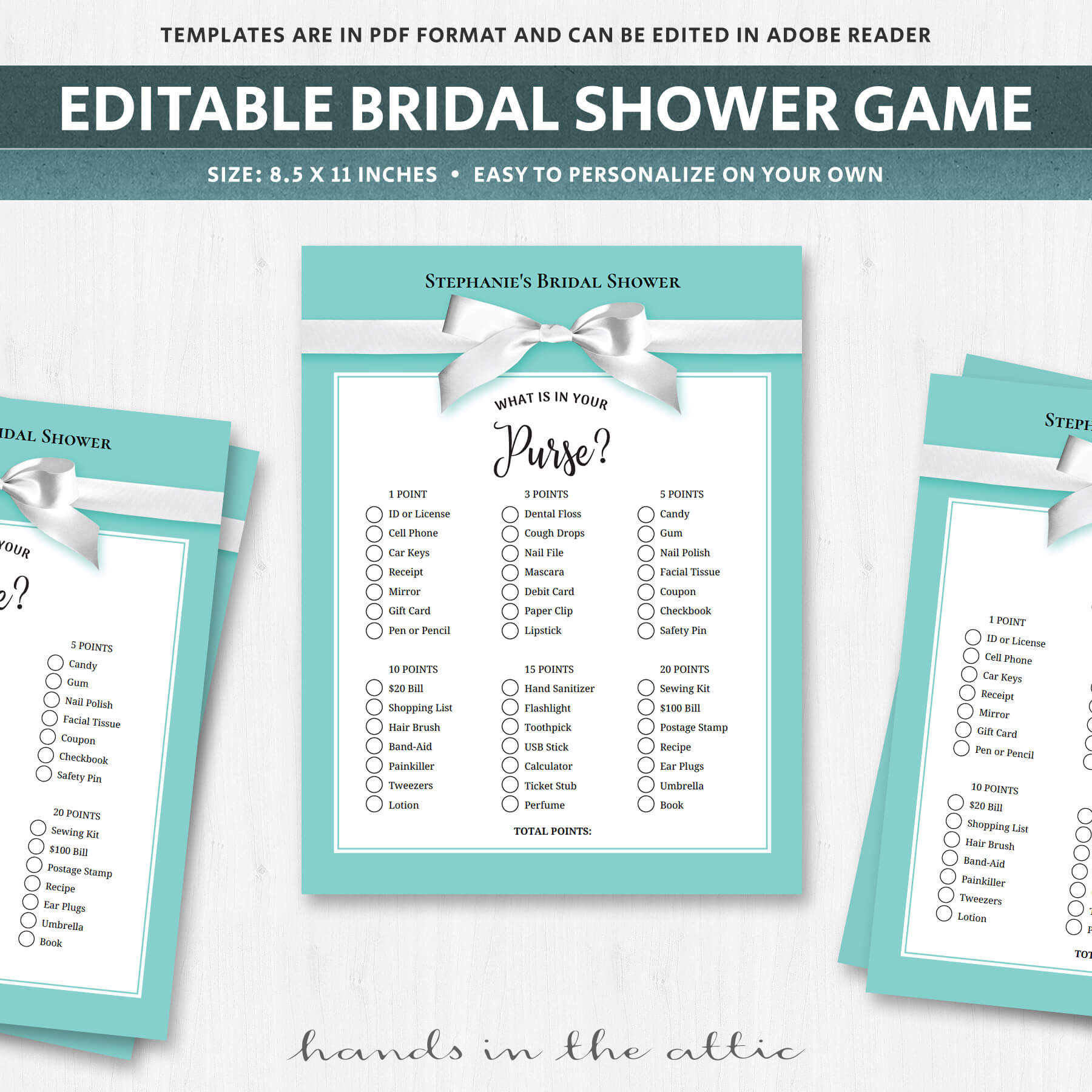 what is in your purse bridal shower game pdf printable stationery