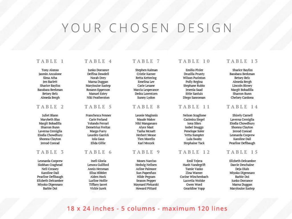 18 x 24 inches - 5 columns