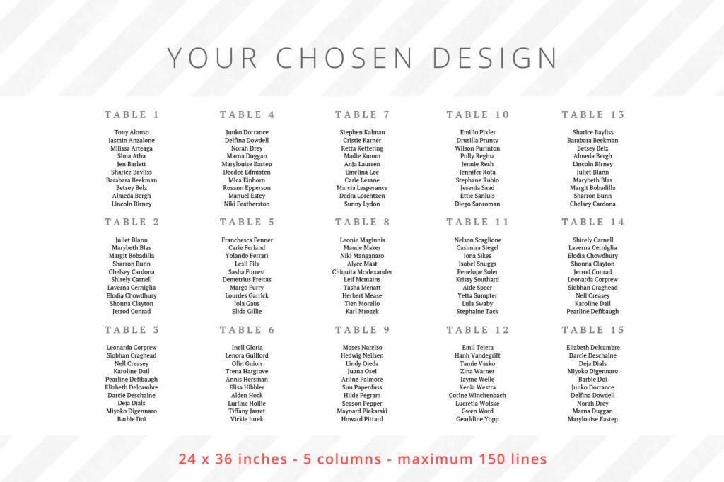 24 x 36 inches - 5 columns