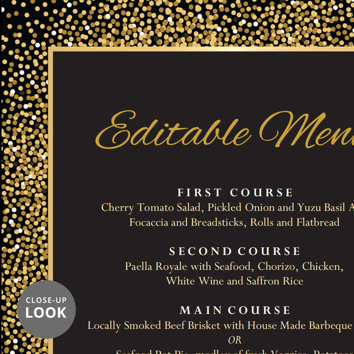 Black and Gold Wedding Menu Template | Wedding Printables | Hands in the  Attic