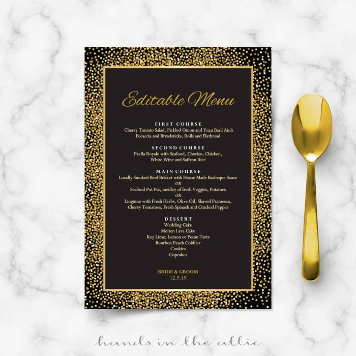 Black and Gold Wedding Menu Template