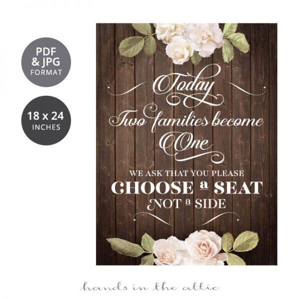 Choose a Seat Wedding Sign