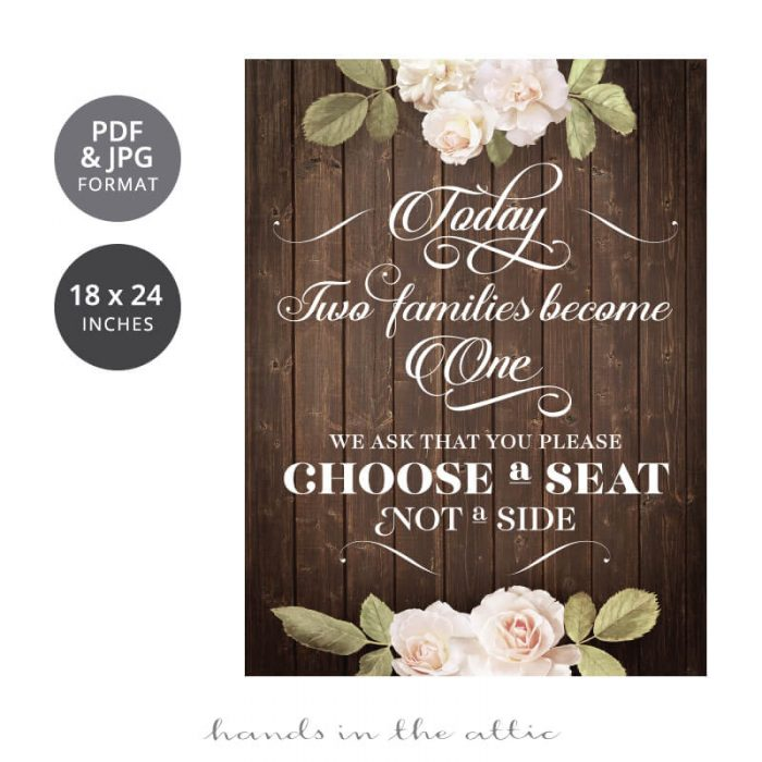 Choose a Seat Wedding Sign