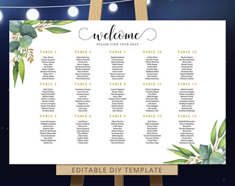 preview of wedding seating templates printable stationery