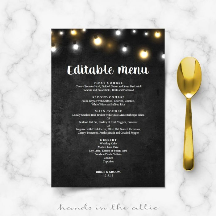 Fairy Lights Menu Template