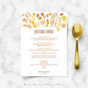 Fall Wedding Menu Template