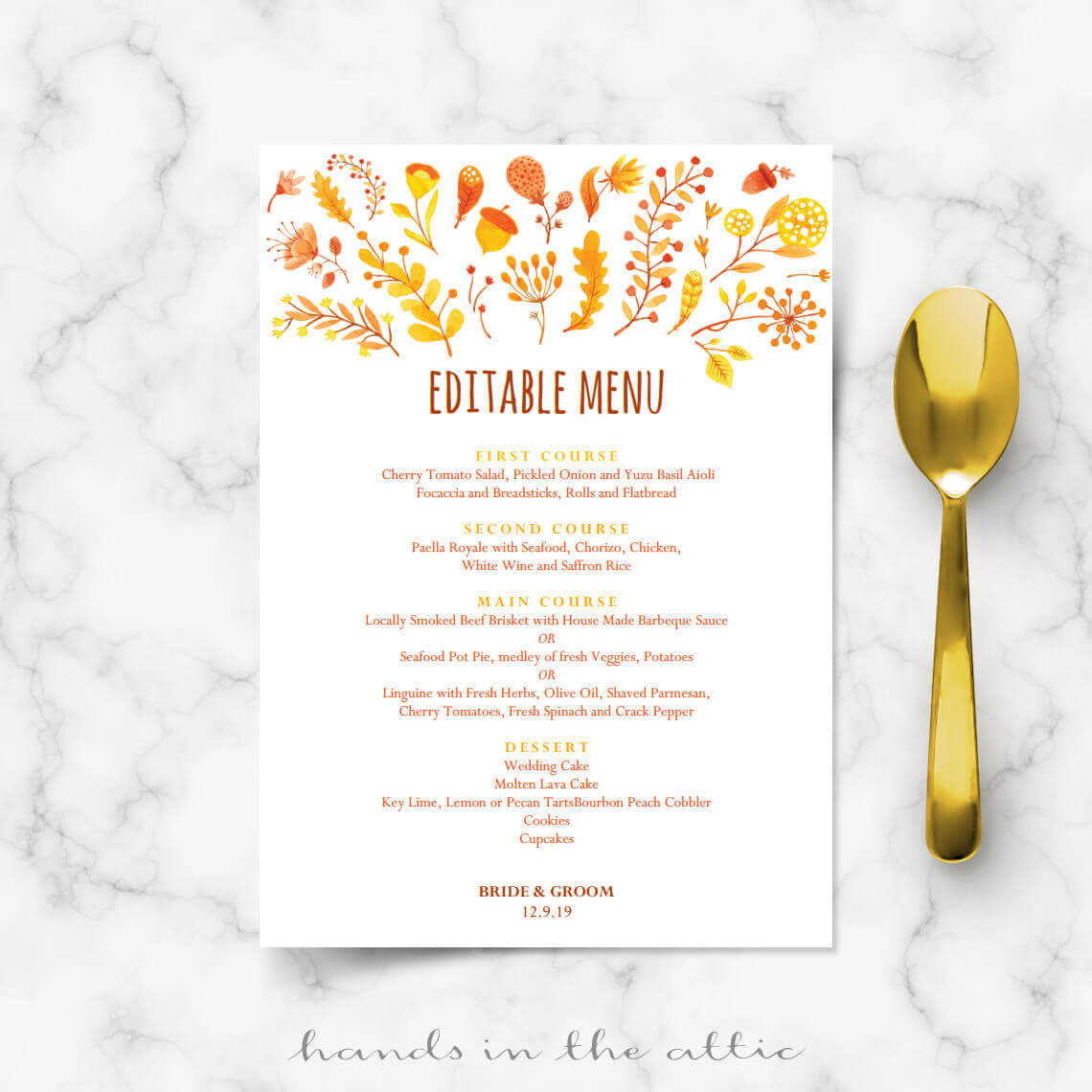 fall wedding menu template editable menu cards hands in the attic