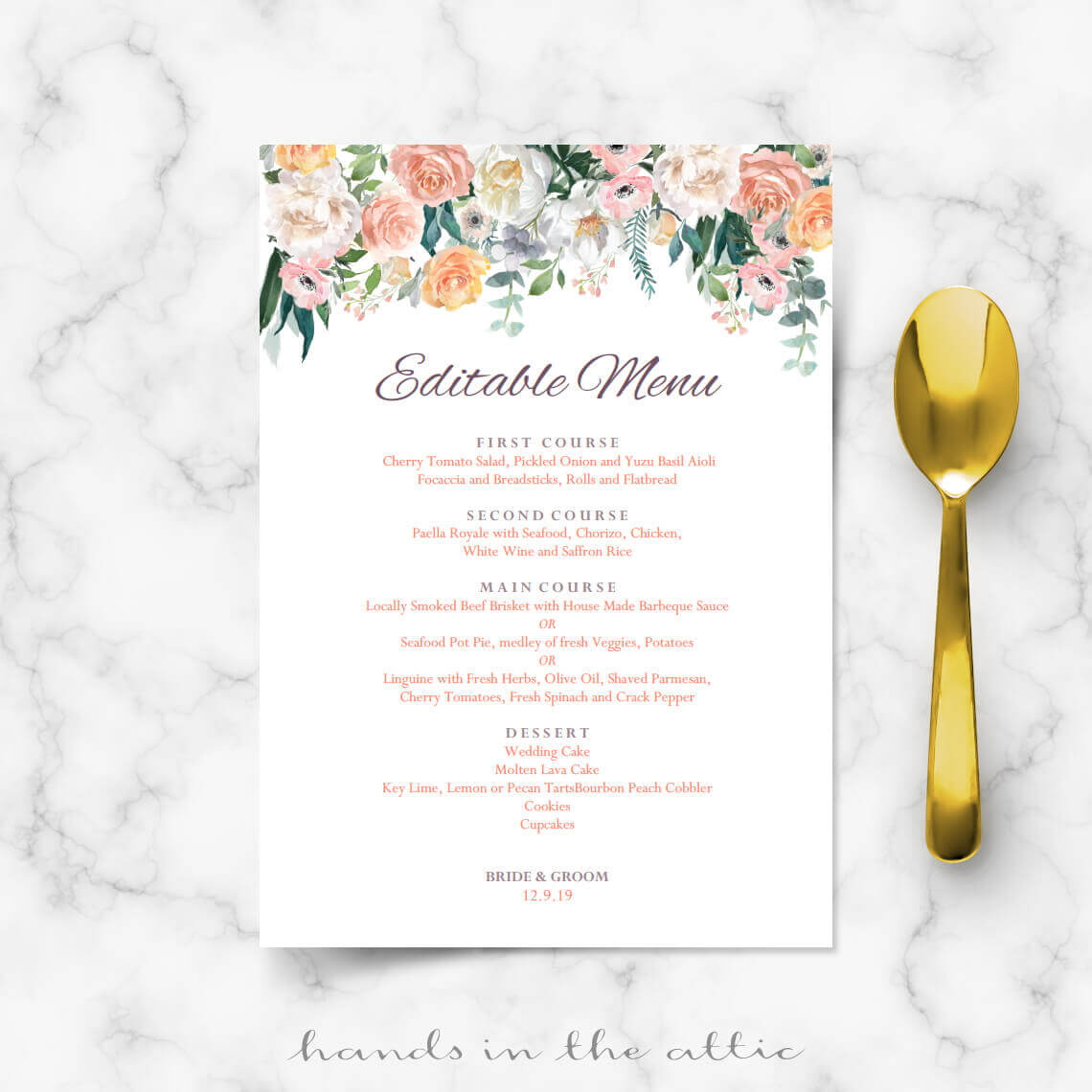 menu templates for weddings - secret garden vintage flowers menu template hands in the