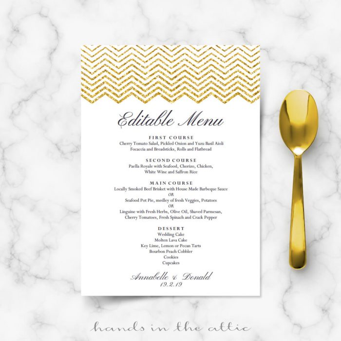 Gold Chevron Menu Template