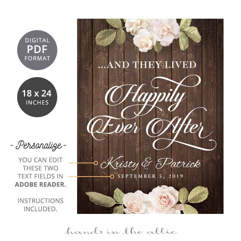 Happily Ever After Vintage Flowers Wedding Sign Hands