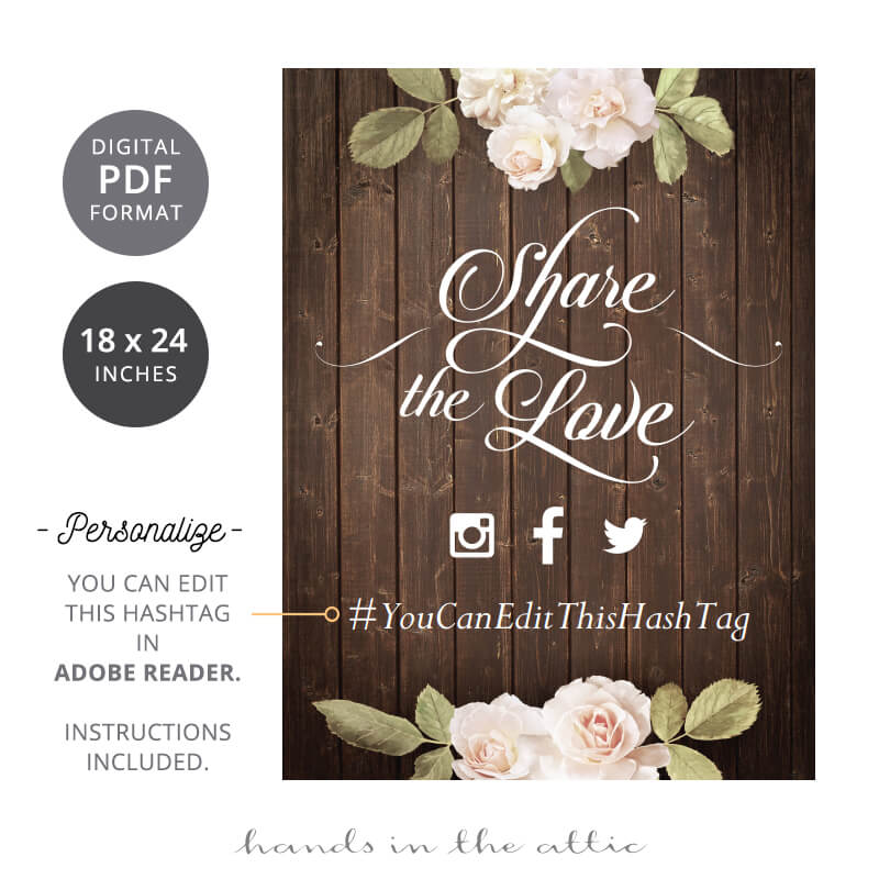 Share The Love Vintage Flowers Wedding Sign Hands In