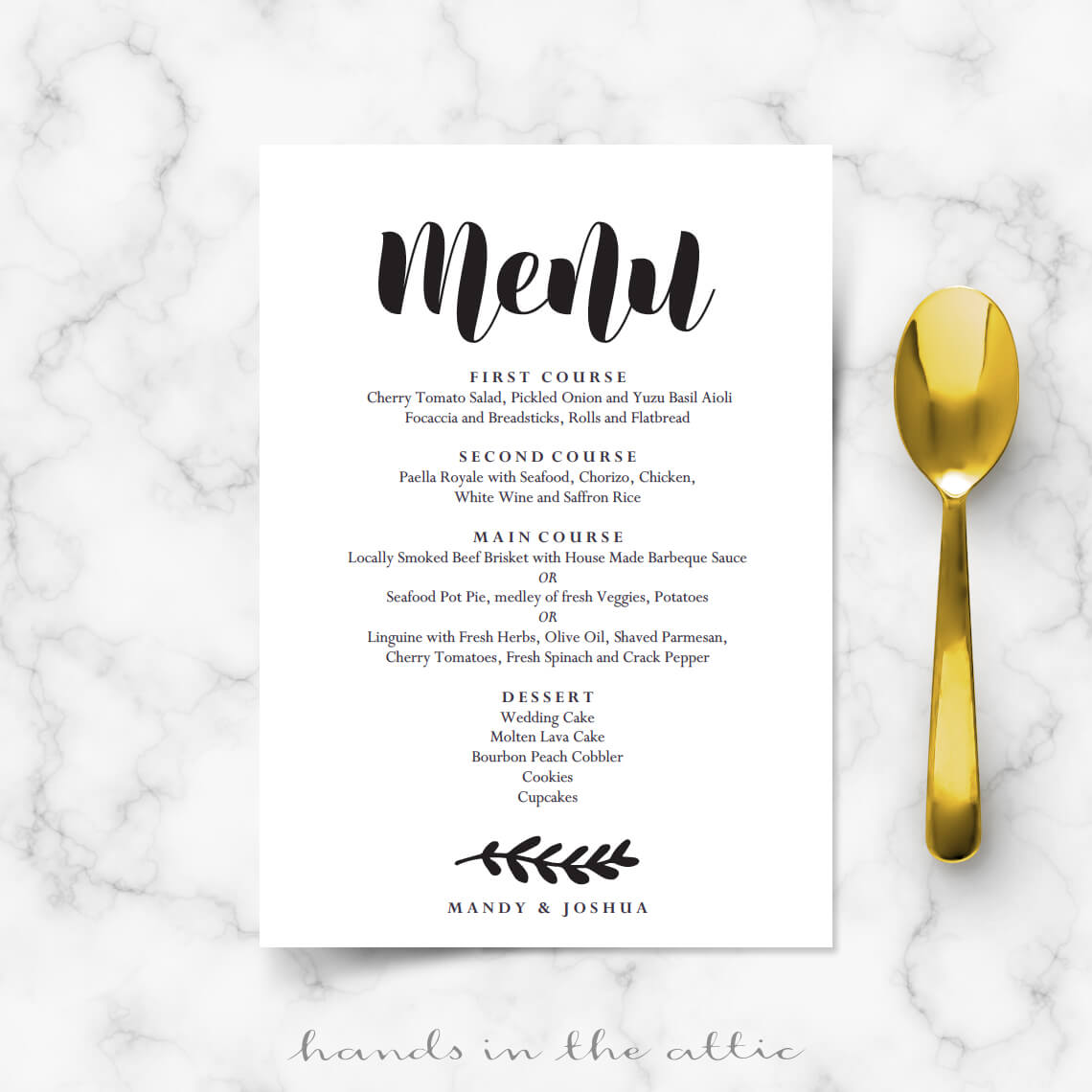 Simple Wedding Menu Card | Printable Templates | Hands in the Attic