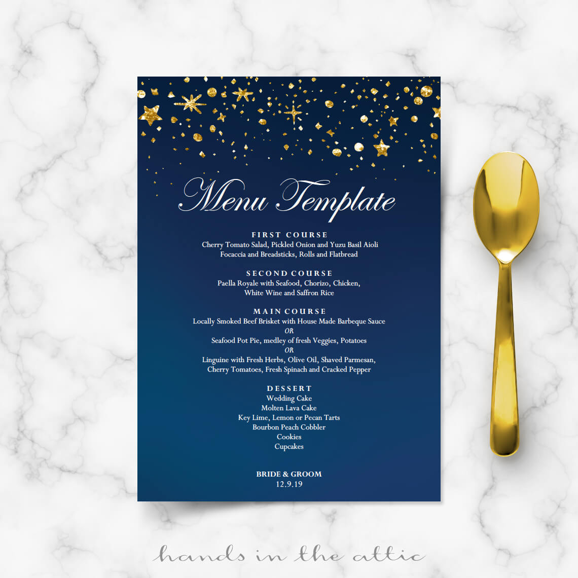 under the stars wedding menu template