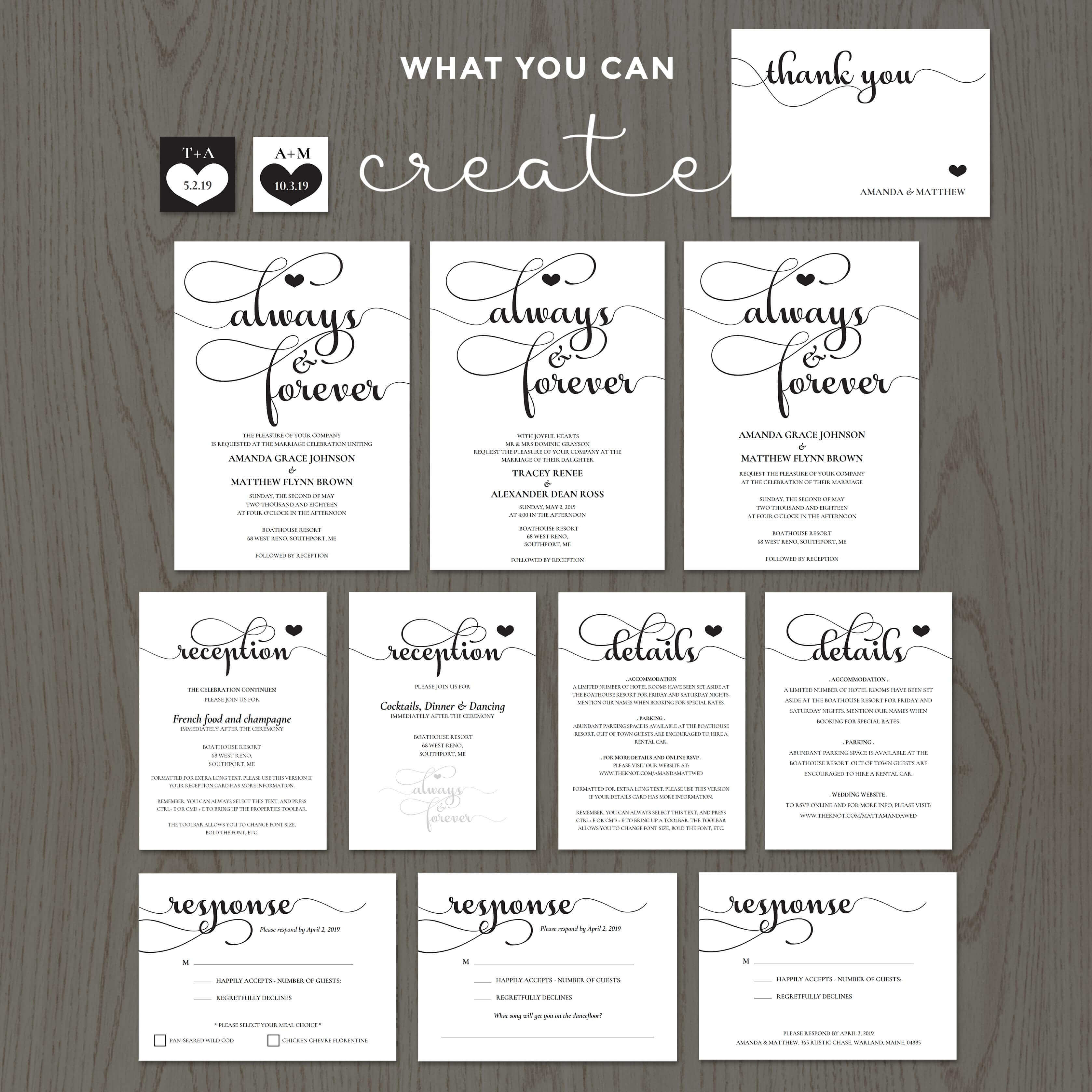 always and forever wedding invitation templates