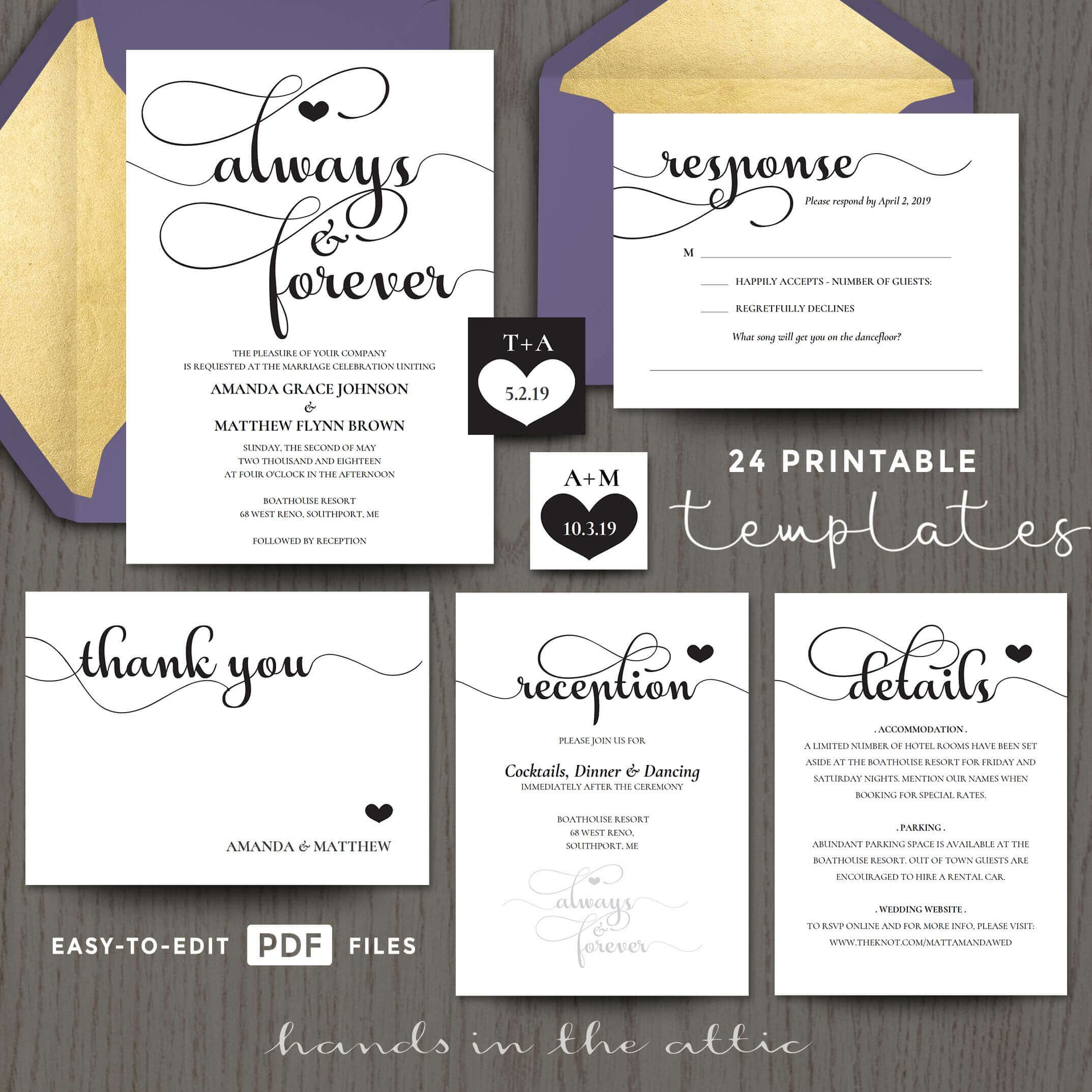 Always forever wedding invitation templates