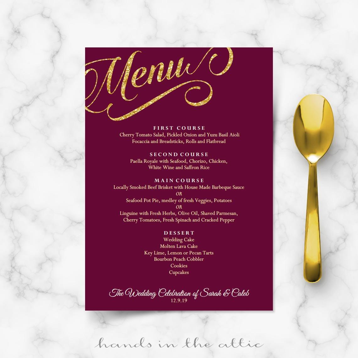 Maroon Burgundy And Gold Wedding Menu Template