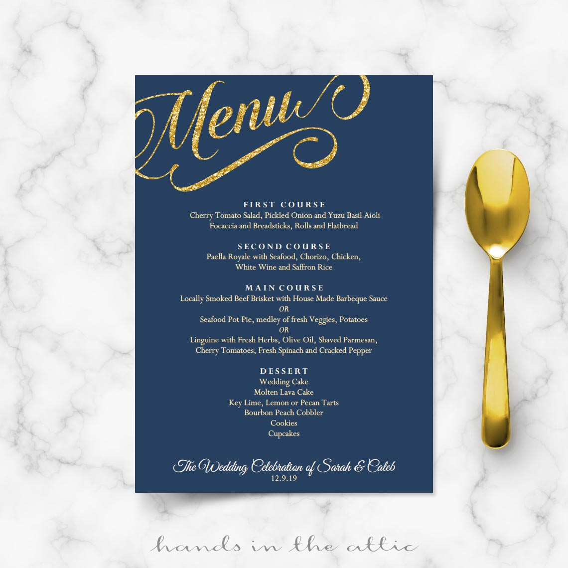 Navy Blue and Gold Wedding Menu