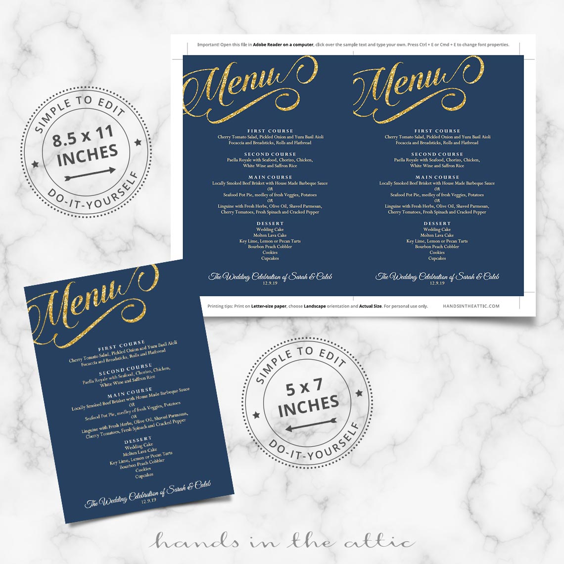 navy blue and gold wedding menu template