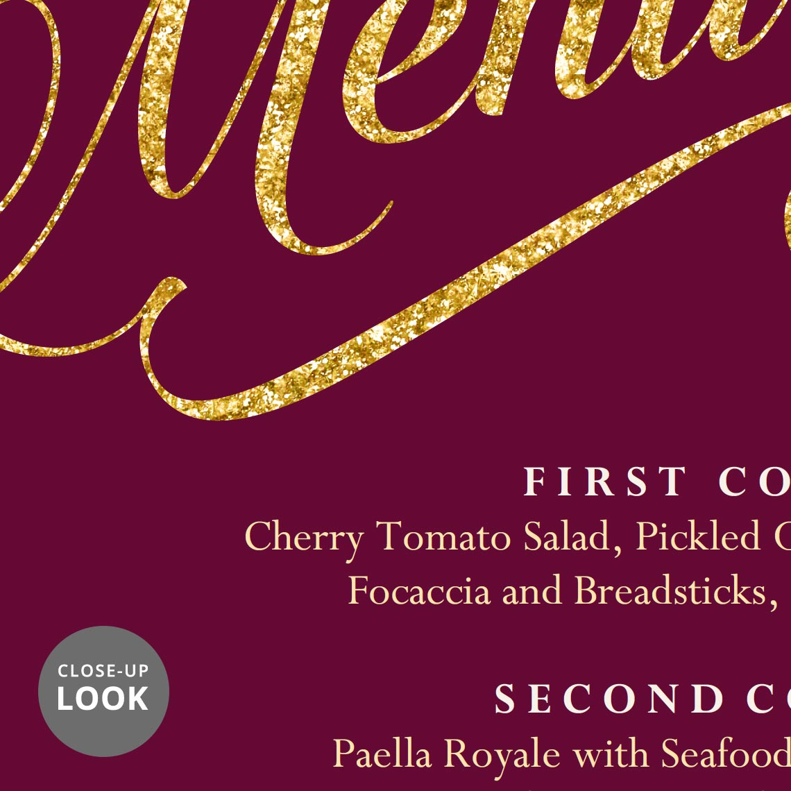 maroon burgundy and gold wedding menu template